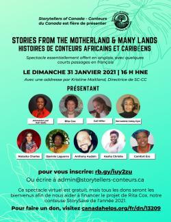 Spectacle virtuel à l'appui du programme StorySave. Soyez des nôtres pour un après-midi de contes en compagnie de conteurs africains et caribéens