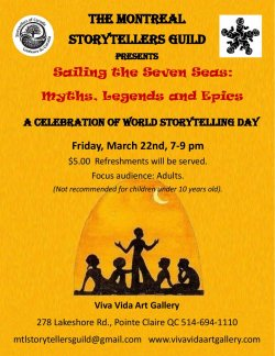 World Storytelling Day Event from The Montreal Storytellers Guild - March 22nd