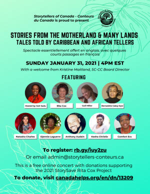 Online Concert in support of StorySave- Join us for an afternoon of tales told by Caribbean and African Tellers