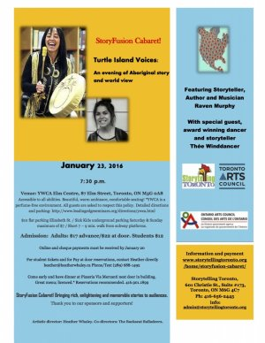 StoryFusion Cabaret! Turtle Island Voices, January 23rd 2016